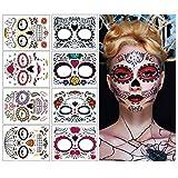 Temporäre Halloween-Gesichtstattoos, 8 Blatt Tag der Toten Zuckerschädel Gesicht Tattoo Aufkleber für Halloween Party Cos spielen (Gesichtsaufkleber)