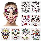 Halloween Temporäre Gesichtstattoos, CNNIK 9 Stücke Floral Schwarz Skeleton Web Rote Rosen Vollgesichtsmaske Tattoo für Frauen Männer Erwachsene Kinder, Halloween Party gefallen Lieferungen