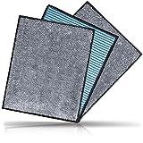 CARBOTEC® 3X Premium Carbon Mikrofaser Spültücher- Vorreinigungstuch mit unfassbarer Aufnahmekapazität & extrem Stabiler Struktur - ideal zur professionellen Reinigung für Küche & Auto 23x20cm