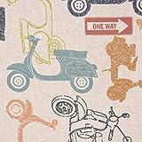 Dekostoff Baumwollstoff Motorroller Retro-Roller Vintage mit Schriftzug natur bunt 1,40m Breite
