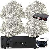 Outdoor Wi-Fi Garten Lautsprechersystem | 4 x 75 W externe wasserdichte Rock Lautsprecher | 80 W Smart Home Wireless Verstärker/Verstärker & Kabel | Outdoor Surround Sound Kit | BBQ Party