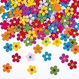 Naler 120 x Fliz Blüten Bunte Stoff Blümchen Deko Blumen für Kinkder Basteln - 2,8 cm