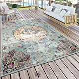 Paco Home In- & Outdoor Teppich Modern Orient Print Terrassen Teppich Türkis, Grösse:160x220