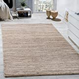 Paco Home Teppich Kurzflor Modern Gemütlich Preiswert Mit Melierung Beige Creme Braun, Grösse:160x220 cm