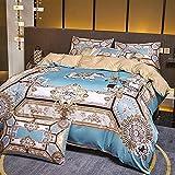 Exlcellexngce Bettbezug 200x200cm,Nordic Style Light Luxury Bett Gewaschene Seide Vier-teiliges Set, Sommer Single und Double Haushaltswäsche Bettwäsche Bettwäsche-F_1,8m Bett (4 stücke)