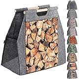 KADAX Kaminholztasche, Holztragetasche aus Filz, Filztasche für Holz, Holzstücke, Filzkorb für Kamin- und Brennholz, Holztasche mit Tragegriff, Tasche für schwere Gegenstände (Holzscheit)