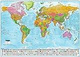 Close Up XXL Premium Riesen Weltkarte Poster Version 2021 mit Flaggen (140x100 cm) Top Qualität - MAPS IN Minutes