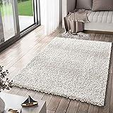 VIMODA Prime Shaggy Teppich Weiss Creme Hochflor Langflor Teppiche Modern, Maße:40x60
