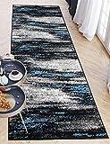 Carpeto Rugs Teppich Läufer Flur - Modern Teppichläufer – Kurzflor, Weich - für Küche Vorzimmer Eingangsbereich Schlafzimmer - Meterware 80 cm Breit - Grau Blau 80 x 200 cm