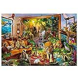 YTQQ-Tierpark, Zebra, Tiger, Elefant-Klassische 3D-Rätsel, Erwachsenenrätsel, Lernspielzeug für Kinder, Spiele, (500 Tabletten)-Pap
