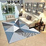 Teppich deko Teenager mädchen Zimmer Blaugrauer schwarzer geometrischer Entwurf Rutschfester Wohnzimmerteppich jugendzimmer deko Jungen raumdeko 180*250cm