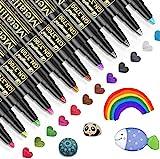 Metallic Marker Pens, Emooqi 12 Farben Metallic Stifte für Gästebuch Hochzeit Geburtstag Fotoalbum Schwarze Seiten, Stift zum Steine Bemalen Glas, Geschenkbox, Kalender Selbst Gestalten, Scrapbook