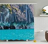 Türkis Duschvorhang Chile General Carrera Lake Marmorhöhle Südamerika Natürlicher Wind Dekorativer Duschvorhang Wasserdichter Duschvorhang aus Polyestergewebe