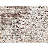 Fototapeten 396 x 280 cm Steinwand | Vlies Wanddekoration Wohnzimmer Schlafzimmer | Deutsche Manufaktur | Weiss Braun 9083012c