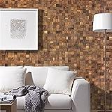 wodewa Holz Wandverkleidung selbstklebend 3D Optik Nussbaum 30x30cm Wandpaneele Moderne Wanddekoration Holzverkleidung Wohnzimmer S