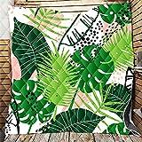 Fansu Tagesdecke Bettüberwurf Steppdecke Mikrofaser Doppelbett Einselbetten Tagesdecken Gesteppt Bettwäsche Sofaüberwurf Wohndecke Stepp Gesteppter Quilt (Grüne Pflanzen,96x114cm)