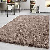 Teppich Hochflor Shaggy Teppich Unicolor einfarbig Teppich farbecht Pflegeleicht, Maße:160 cm x 160 cm Rund, Farbe:Beige