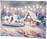 infactory LED Winterbild: Wandbild Winterdorf mit LED-Beleuchtung, 40 x 30 cm (Winterbild mit LED Beleuchtung)
