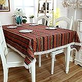 XGguo Wachstuch-Tischdecke Abwaschbar Gartentischdecke Wachstischdecke Plastik-Tischdecken Broncing gestreifte Baumwolle und Leinen im Clan-Stil