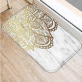 OPLJ Wohnzimmer Fußmatten Bunte Marmor Rosa Mandala Anti-Rutsch-Home Dekorative Küche Boden Teppich Eingangsmatte A12 40x60