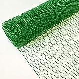 EXCOLO Sechseckdraht grün Volieren Draht Hasendraht Drahtzaun Kaninchendraht Maschendraht verzinkt und grün beschichtet (Höhe 75cm, Länge 10m, Weite 25mm)