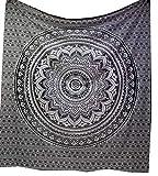 raajsee Indisch Psychedelic Mandala Schwarz und weiß Wandteppich/Indien Elefant Boho Wandtuch Hippie Wandbehang 82x92 I