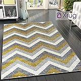Grau-gelber Teppich Senf Modern Chevron Zick Zack 70 x 140 cm – 2 Fuß 4 Fuß 7 Zoll Gewebt Kurzflor Teppich Matte für Wohnzimmer & S