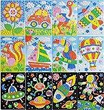 Queta Kinder Mosaik Kits Mosaik Aufkleber Kunst Basteln Mosaik set Klebrige Mosaike DIY Handgemacht Kunsthandwerk-Kits Kinder Geschenke 12 Packungen Tier (Typ 1)