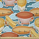 ABAKUHAUS Weinlese-Flugzeug Microfaser Stoff als Meterware, Zeppelin Blimp, Deko Basteln Polsterstoff Textilien, 2M (230x200cm), Mehrfarbig