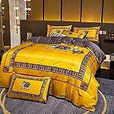 Exlcellexngce bettbezug 90 x 200 spannlaken,Nordic Style Light Luxury Bett Gewaschene Seide Vier-teiliges Set, Sommer Single und Double Haushaltswäsche Bettwäsche Bettwäsche-B_1,8m Bett (4 stücke)