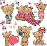 Wandtattoo Teddybären Kinderzimmer Aufkleber Set auf 60x60cm Bog
