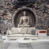 Tapete 3D Wandbilder Grauer Buddha Moderne Tapete Fototapeten Wanddeko Tapeten Vliestapete Wandtapete Wandbild Wand Fernseher Sofa Hintergrund Tapete-350x256 Cm (WxH)