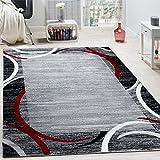 Paco Home Wohnzimmer Teppich Bordüre Kurzflor Meliert Modern Hochwertig Grau Schwarz Rot, Grösse:80x150