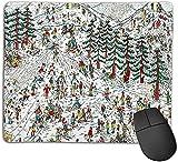 Gaming Mauspad,Wo Waldo Ski Wally Martin Handford Kinderbuch,rutschfeste Gummiunterseite Mousepad für Notebooks Computer Mauspads 25cmX20cm