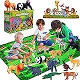 INNOCHEER Safari Tierfiguren Spielzeug Set mit Spielmatten, Realistischte Wildtier Figuren, Großes Dschungel Tier Spielset mit Elefant Giraffe Löwe Tiger Gorilla Panda und Mehr für Kinder