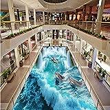 Benutzerdefinierte 3D Bodenbelag Wandbild Tapete Stereoskopischen Delphin Wasserfall Bodenaufkleber Malerei Badezimmer Boden Dekor Vinyltapete