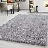 Teppich Hochflor Shaggy Teppich Unicolor einfarbig Teppich farbecht Pflegeleicht, Maße:100 cm x 200 cm, Farbe:Hellgrau