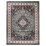 Carpeto Traditioneller Orientalischer Teppich - Kurzflor - Weicher Teppich Perser für Wohnzimmer Schlafzimmer Esszimmer - ÖKO-TEX Zertifiziert - AYLA - 140 x 200 cm - B