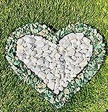 Herz Gitter mit kleinen Carrarra & Arctic Green Steinen für Allerheiligen Grabschmuck Grabgestaltung Grabdeko Pflanzschale von Gartenwelt Riegelsberger