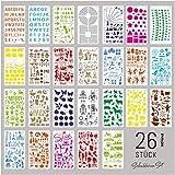 int!rend 26 Schablonen Set, aus Kunststoff, Zeichenschablonen Muster für Bullet Journal, Scrapbooking, Fotoalbum, Gästebuch, DIY Geschenkkarten