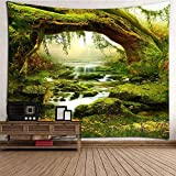 AYES Wandteppich PsychedelicTapisserie Wald Helle Sonnenlicht Wandbehang Landschaft Bohemian Dschungel Wandkunst Dekore (2000x1800mm)