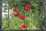 Artland Qualitätsbilder I Wandtattoo Wandsticker Wandaufkleber 120 x 80 cm Landschaften Fensterblick Collage Rot C3LO Fensterblick