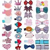 HBF 32 stk mehrfarbige Haarspangen für Mädchen mit verschiedenen Designs: Schleife, Katzenohren, fünfeckiger Stern, Blümchen, Krone usw
