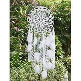 EasyBravo großer Traumfänger im Boho-Stil, mit weißer Feder, Makramee, Wandbehang für Vintage-Hochzeit oder zur Heimdekoration, 30 cm Kreis, 80 cm lang, Weiß