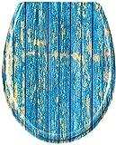 Froadp WC Sitz,Toilettendeckel mit Absenkautomatik, Antibakterielle Klobrille oval Klodeckel--Blau Plank