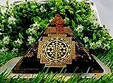 Amazing Gemstone Sri Yantra Orgon-Pyramide mit schwarzem Turmalin für EMF und negativen Energieschutz, natürlicher schwarzer Turmalin-Kristall-Pyramide