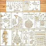 Qpout 10 Stück Schablonen Weihnachten, Zeichenschablonen Malschablonen aus Kunststoff, Stencil Schablonen Wiederverwendbar für Scrapbooking Fotoalbum, DIY Geschenkkarten, Geschenke Weihnachten Kinder