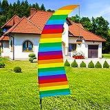 QSUM Bali-Fahne | 1 pcs Regenbogen Swooper Flagge & Fahnenmast Zubehör - 8 Füße Große Festival Flag Dekorationen Party Beach Sign Außendekoration