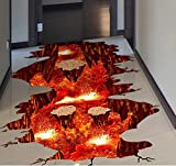 HALLOBO® XXL Wandtattoo Bodenaufkleber Vulkan Volcano Magma Wandaufkleber Wandbild Wohnzimmer Schlafzimmer Kinderzimmer Dek