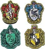 Harry Potter House of Gryffindor, Ravenclaw, Hufflepuff, Slytherin House Hogwarts Wappen, Patch 10 x 8 cm, Vollfarbig, zum Aufbügeln, Wappen-Set für Mantel, Jacke, Ausrüstung, Mütze, Rucksack, 4 Stück